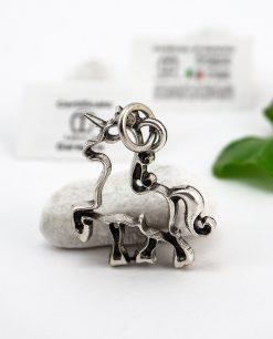 ciondolo a froma di unicorno microfusione placcato argento tabor