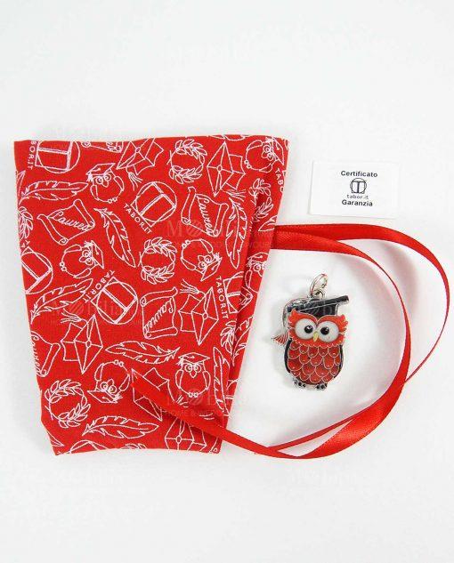 ciondolo gufo rosso laccato con sacchetto stampato tabor
