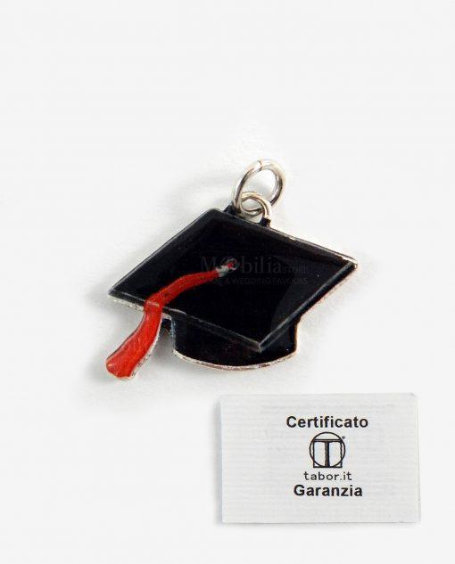 ciondolo tocco nero con nappina rossa microfusione placcato argento tabor