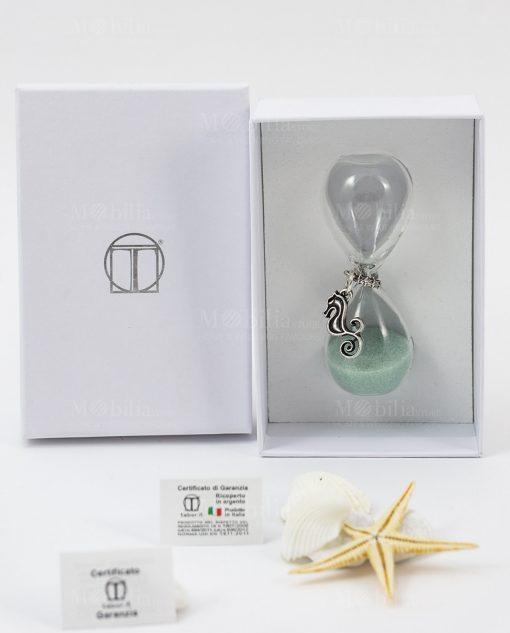 clessidra piccola vetro sabbia verde acqua ciondolo cavalluccio marino scatola cartincino bianca tabor