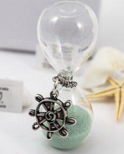 clessidra vetro ciondolo timone sabbia verde acqua tabor