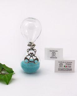 clessidra vetro sabbia azzurra con ciondolo orsetto microfusione placcato argento tabor