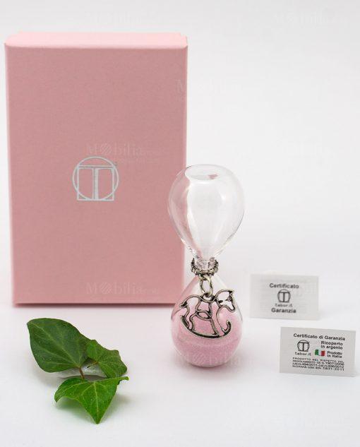 clessidra vetro sabbia rosa ciondolo cavalluccio e scatola tabor bimba