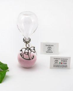 clessidra vetro sabbia rosa con ciondolo cavalluccio microfusione placcato argento tabor