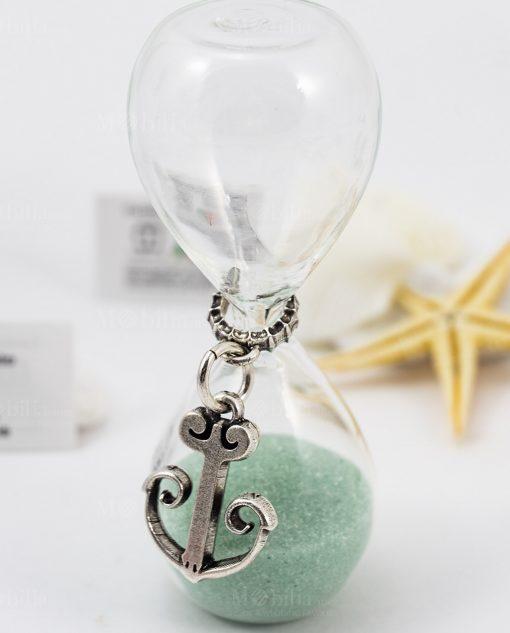 clessidra vetro sabbia verde acqua ciondolo argento ancora tabor