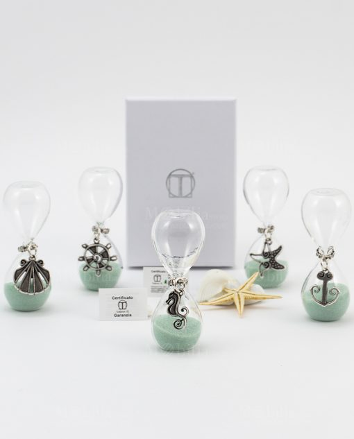 clessidra vetro sabbia verde acqua ciondolo argento soggetti marini conchiglia stella marina cavalluccio ancora e timone tabor