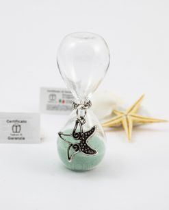 clessidra vetro sabbia verde acqua ciondolo argento stella marina tabor