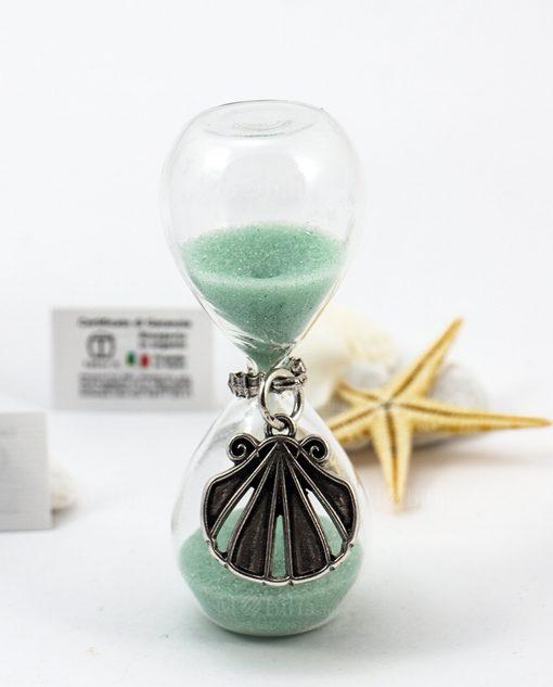 clessidra vetro sabbia verde acqua con ciondolo argento conchiglia tabor