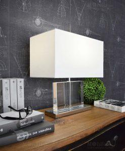 lampada da tavolomoderna base rettangolare paralume bianco orchidea milano