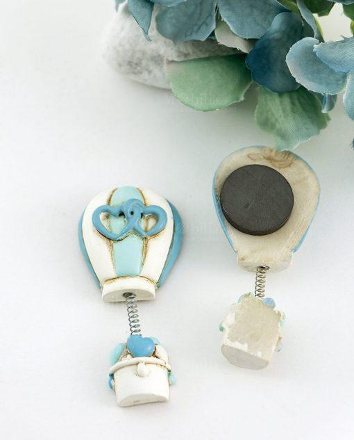 magnete mongolfiera con cuori azzurra decori assortiti avanti e retro