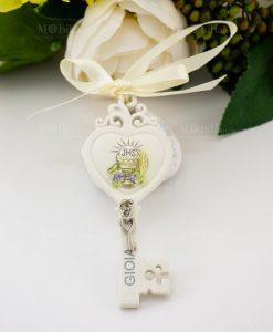 pendaglio chiave cuore con scritta gioia e calice e ciondolino