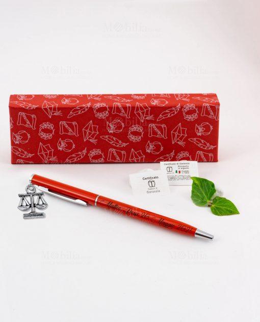 penna rossa ciondolo bilancia tabor personalizzata