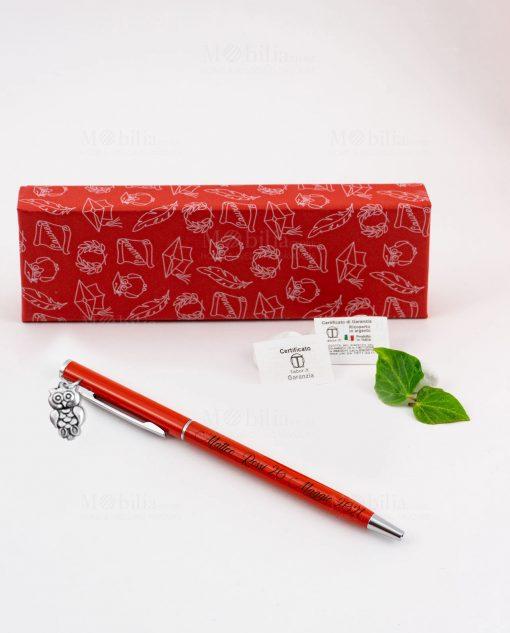 penna rossa ciondolo gufo tabor personalizzata