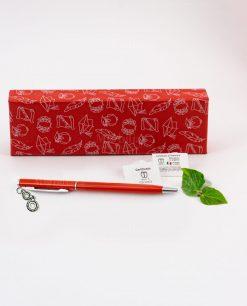 penna rossa ciondolo ingranaggi tabor