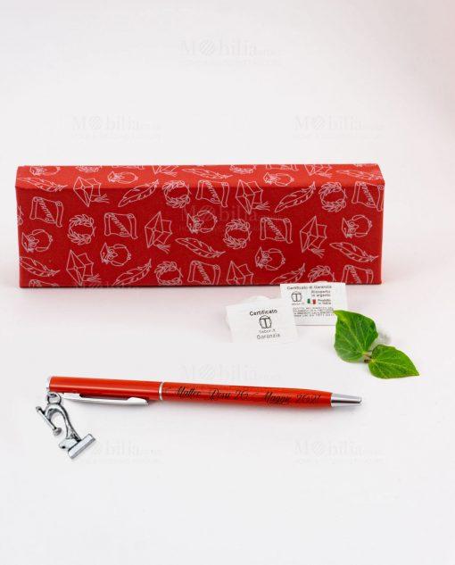 penna rossa ciondolo microscopio tabor personalizzata