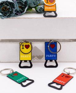 portachiave apribottiglia i love party vari colori