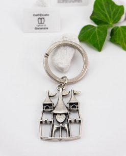 portachiavi a forma di castello microfucione ricoperto argento tabor