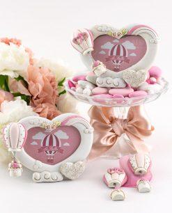 portafoto cuore bianco con roselline e magnete mongolfiera decori assortiti