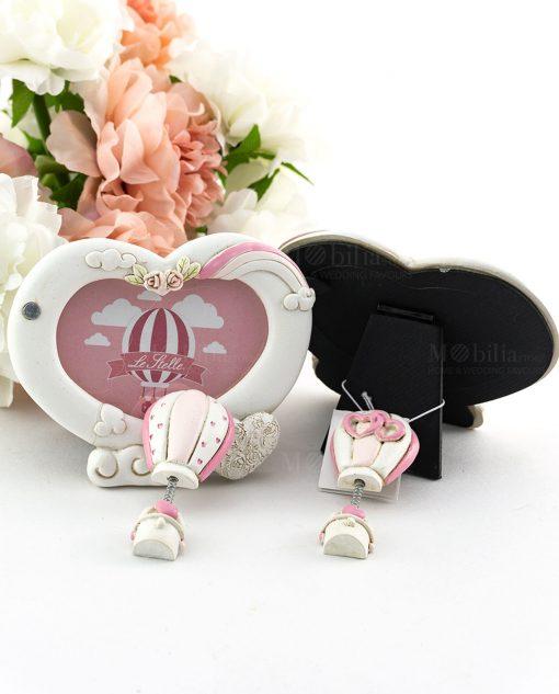 portafoto cuore con nuvole e roselline applicazione magnete mongolfiera con cuori avanti e retro