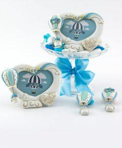 portafoto cuore con rose magnete mongolfiera azzurra