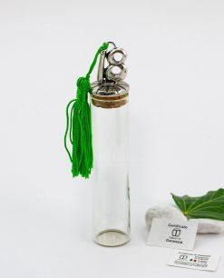 provetta vetro tappo sughero con nappina verde e numero diciotto argento tabor