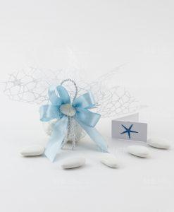 sacchettino portaconfetti rete bianco con fiocco azzurro e conchiglia