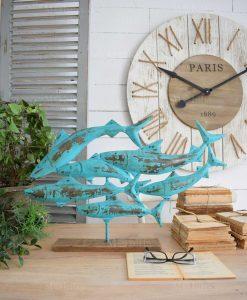 scultura da tavolo branco pesci azzurri ferro orchidea milano