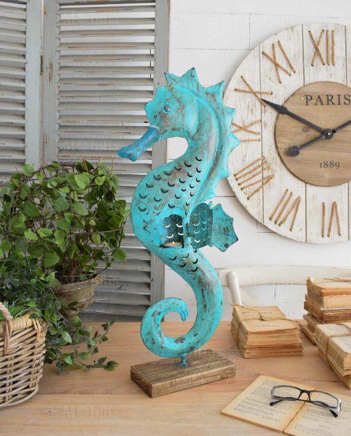 scultura da tavolo cavalluccio marino metallo azzurro orchidea milano