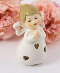 sculturina angelo porcellana mani giunte