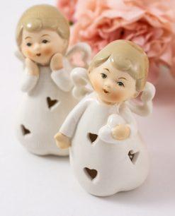 sculturina angioletto porcellana con cuore