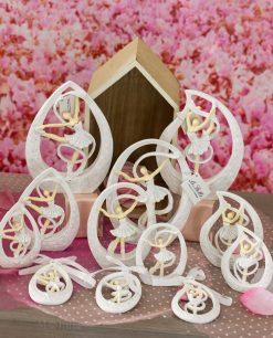 sculturina ballerina tutù bianco con nastro dentro goccia varie forme e misure