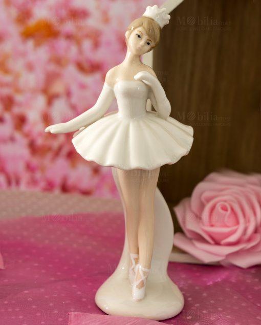 sculturina bambolina in piedi grande porcellana ballerina tutù e coroncina