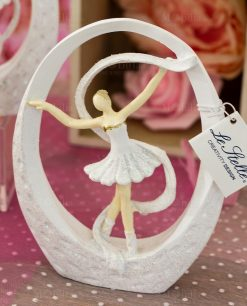 sculturina da appoggio grande ballerina bianca con tutù dentro goccia con nastro