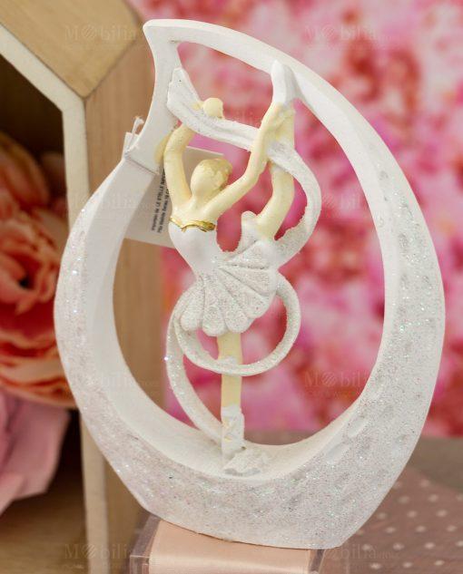 sculturina da appoggio grande ballerina sulle punte bianca con tutù dentro goccia con nastro
