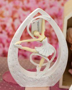sculturina grande ballerina sulle punte bianca con tutù dentro goccia con nastro