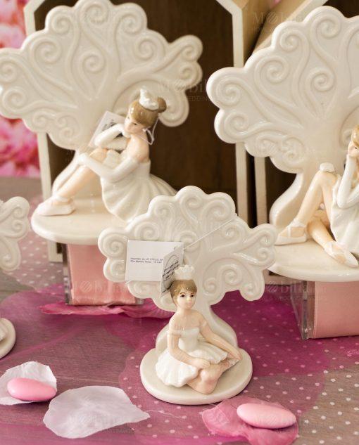 sculturina grande e piccola ballerina seduta con albero della vita porcellana