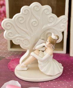 sculturina grande porcellana albero della vita con ballerina tutù bianco