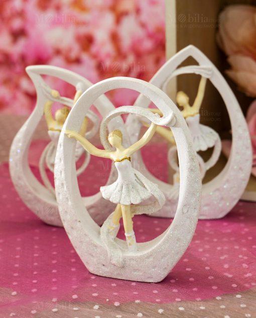 sculturina media ballerina con tutù e nastro dentro goccia 3 modelli assortiti