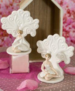 sculturina piccola ballerina seduta con coroncina bianca e albero della vita forme assorite