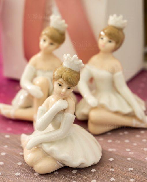 sculturina porcellana piccola ballerina con tutù bianco e coroncina forme assortite