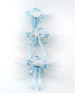 segnaposto mare con rete bianca fiocchi azzurri e applicazione gessetti tema mare