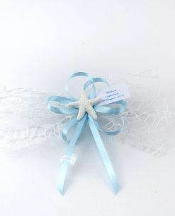 segnaposto rete bianca fiocchi azzurri e applicazione gessetto stella marina