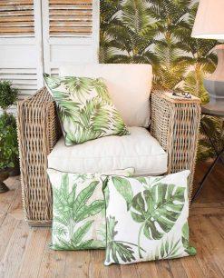 set 3 pezzi cuscino con foglie orchidea milano