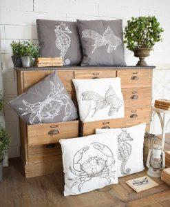 set 6 pezzi cuscino soggetti marini assortiti orchidea milano