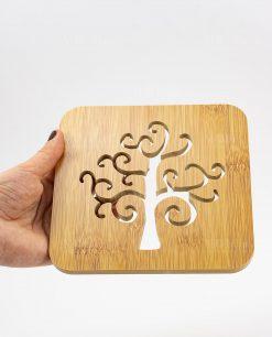 sottopentola legno intaglio albero della vita