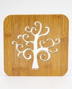 sottopentola quadrato legno intaglio albero della vita