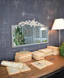 specchio da parete legno decoro floreale orchidea milano