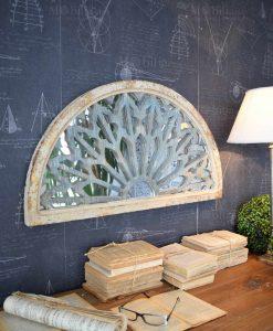 specchio da parete mezza luna effetto anticato orchidea milano