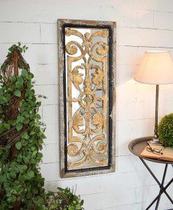specchio da parete rettangolare con decoro barocco effetto anticato orchidea milano