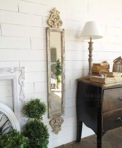 specchio da parete rettangolare lungo cornice legno con ghirigori orchidea milano